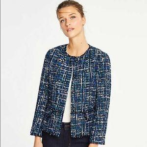 Ann Taylor Fringe Tweed Jacket